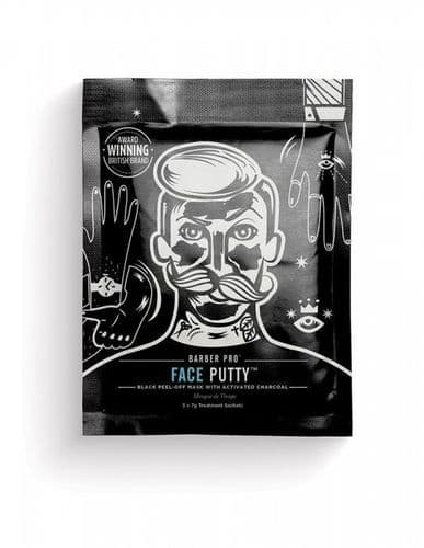 BarberPro Face Putty Peel-Off Mask with Activated Charcoal (3x 7ml applications)