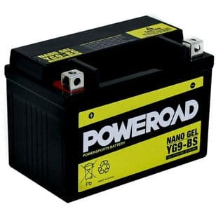 YG9-BS Poweroad Nano Gel Motorcycle Battery  - Replaces YTX9-BS YT12A-BS